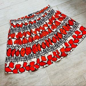 Freeway | Pleated Red Circle Floral Skirt M